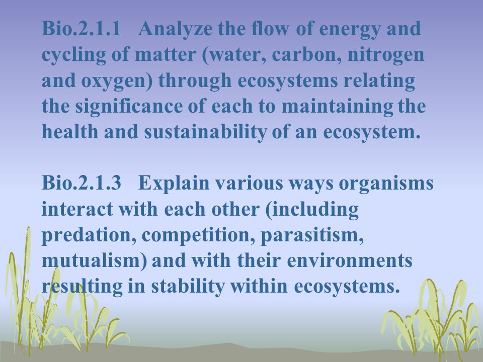Bio.2.1.1 Analyze the flow of energy and cycling of matter (water, carbon, nitrogen and oxygen) through ecosystems relating the significance of each to maintaining the health and sustainability of an ecosystem.