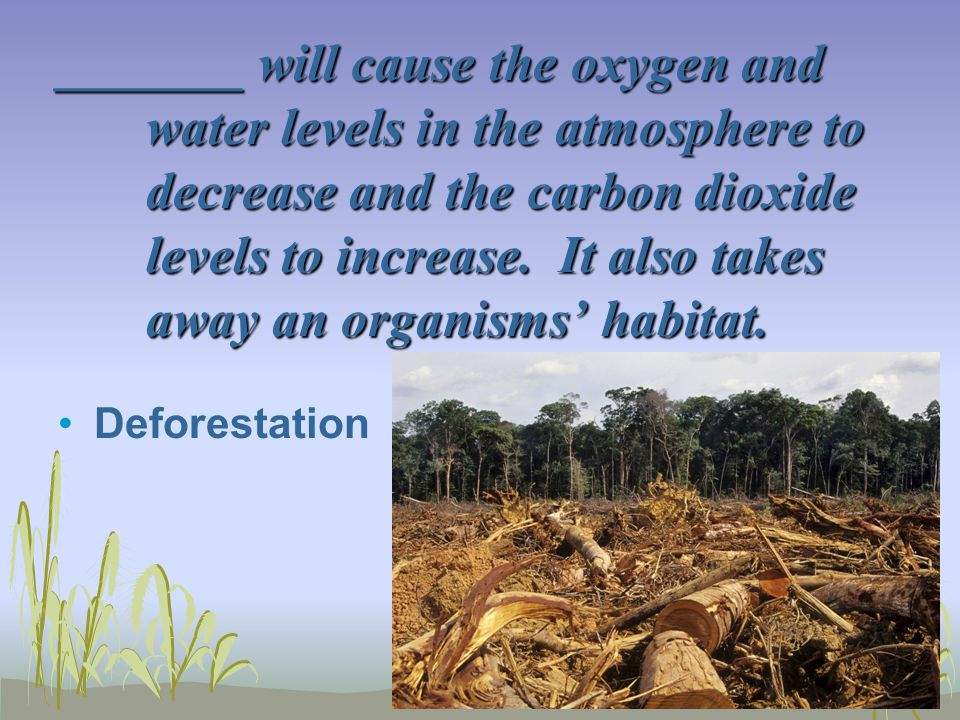 _______ will cause the oxygen and water levels in the atmosphere to decrease and the carbon dioxide levels to increase. It also takes away an organisms' habitat.