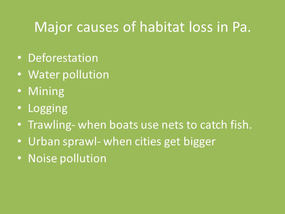 Major causes of habitat loss in Pa.