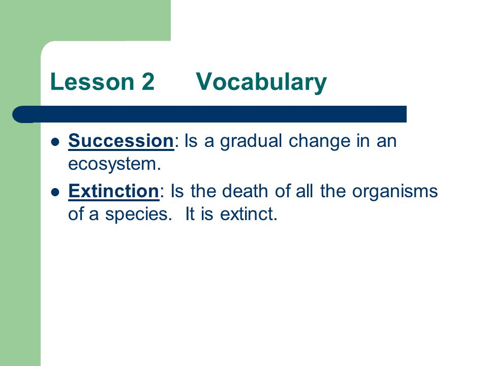 Lesson 2 Vocabulary Succession: Is a gradual change in an ecosystem.