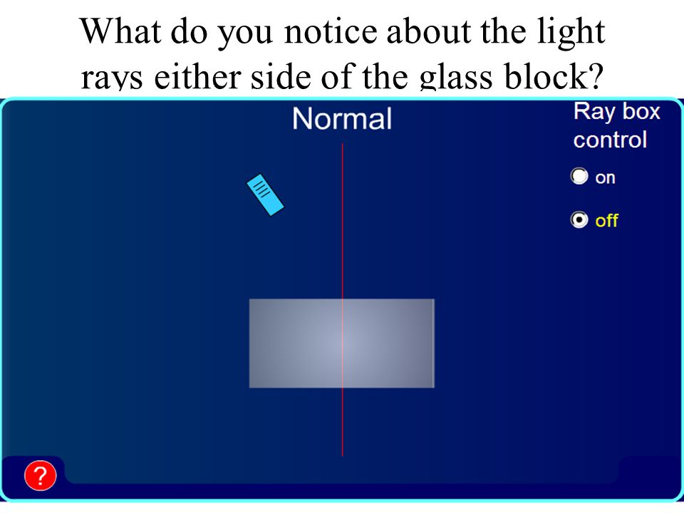 What do you notice about the light rays either side of the glass block