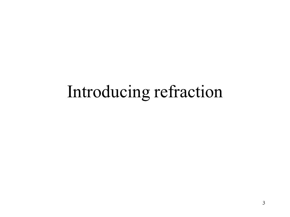 Introducing refraction