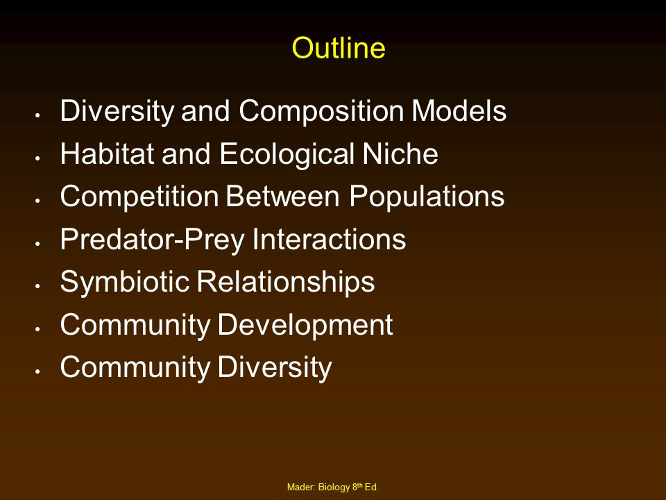 Diversity and Composition Models Habitat and Ecological Niche