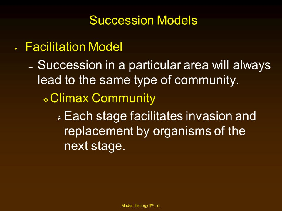 Succession Models Facilitation Model