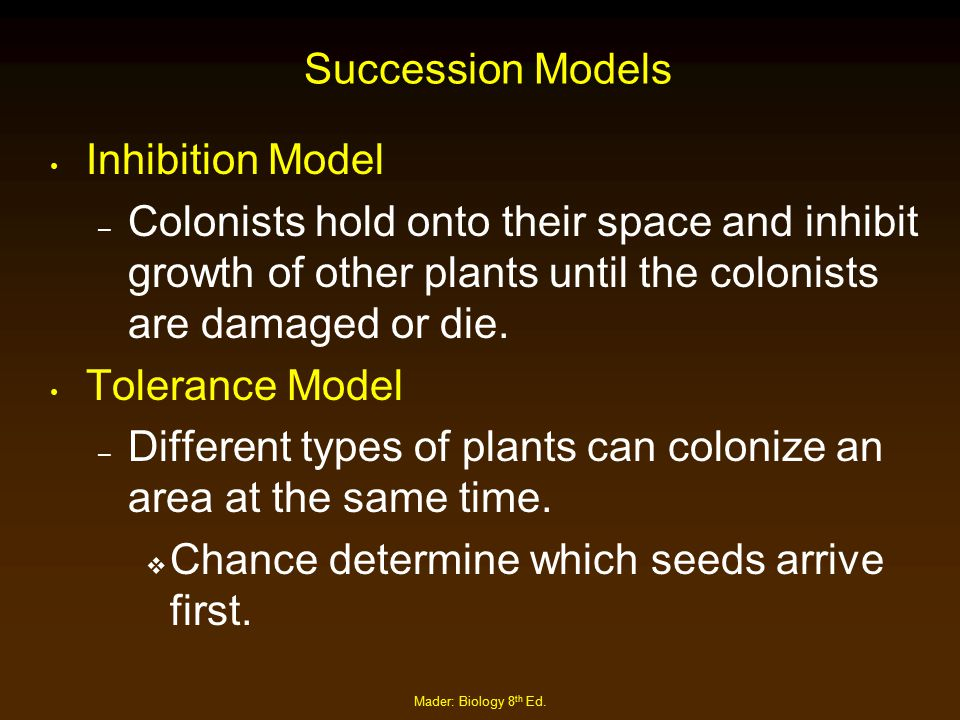 Different types of plants can colonize an area at the same time.