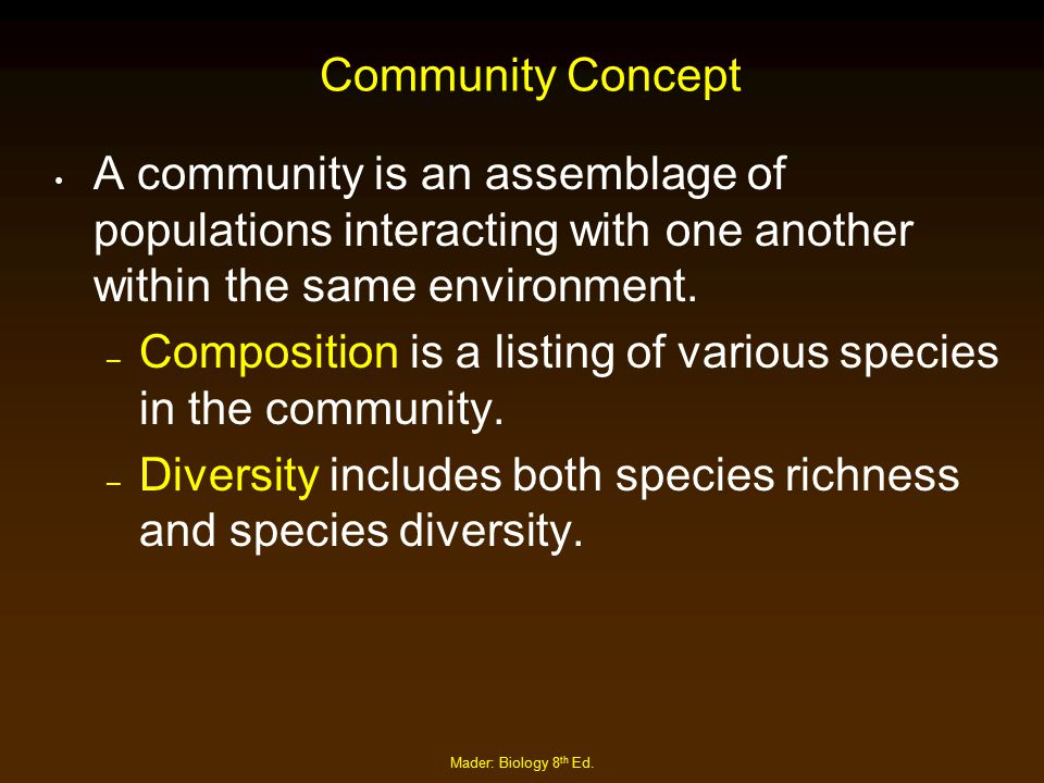 Composition is a listing of various species in the community.