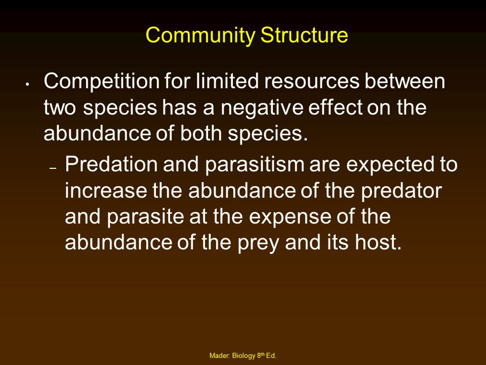 Community Structure Competition for limited resources between two species has a negative effect on the abundance of both species.