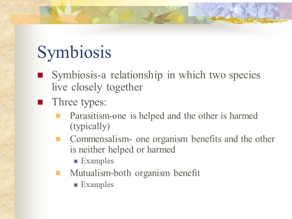 Symbiosis Symbiosis-a relationship in which two species live closely together. Three types: