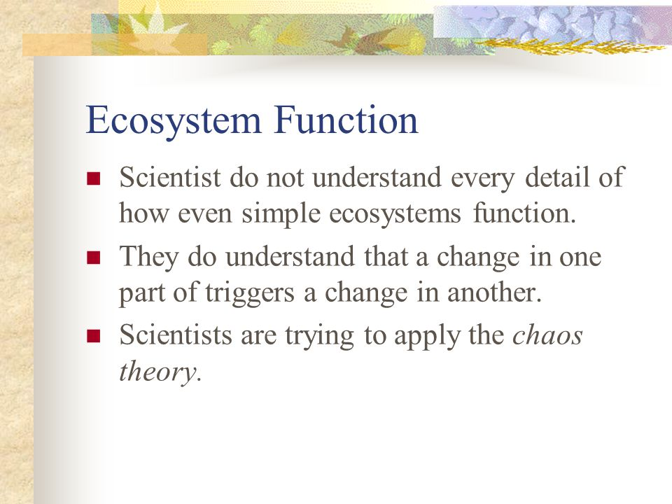 Ecosystem Function Scientist do not understand every detail of how even simple ecosystems function.