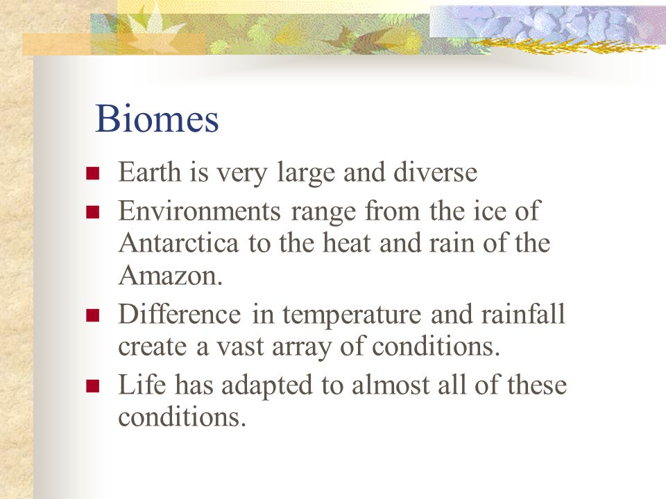 Biomes Earth is very large and diverse