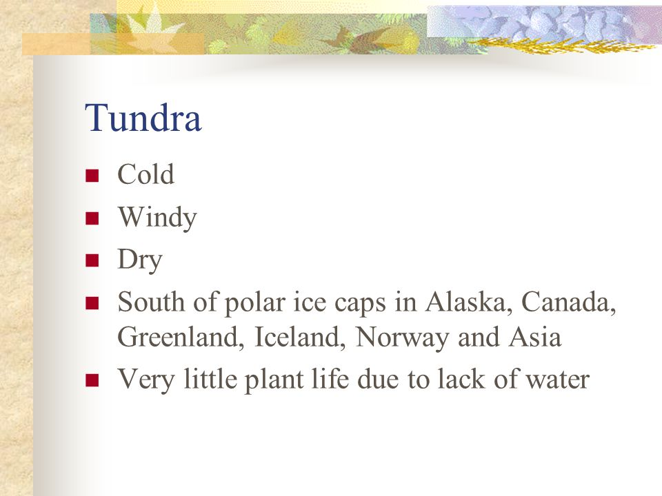 Tundra Cold. Windy. Dry. South of polar ice caps in Alaska, Canada, Greenland, Iceland, Norway and Asia.