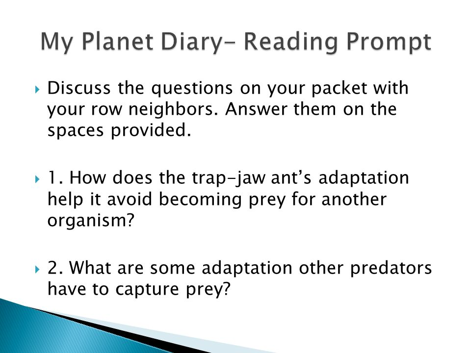 My Planet Diary- Reading Prompt