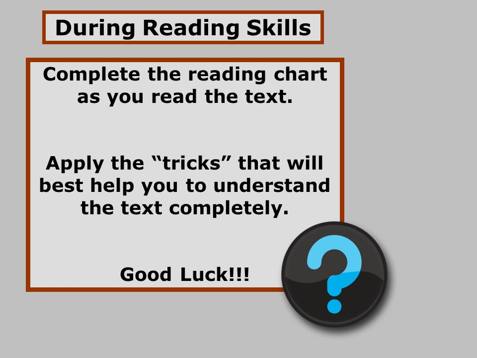 Complete the reading chart as you read the text.