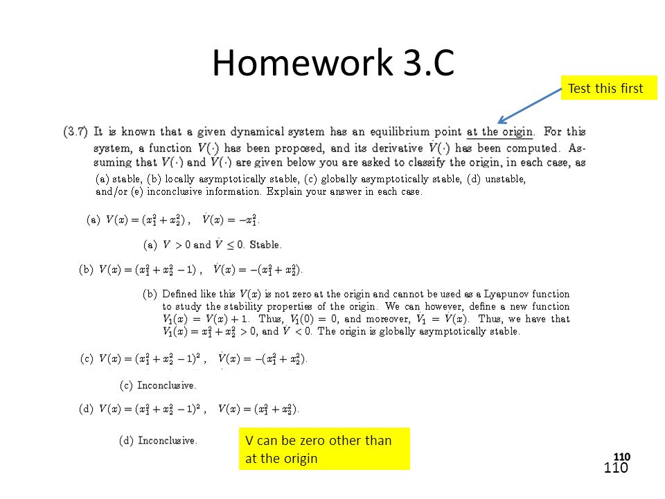 Homework 3.C Test this first V can be zero other than at the origin