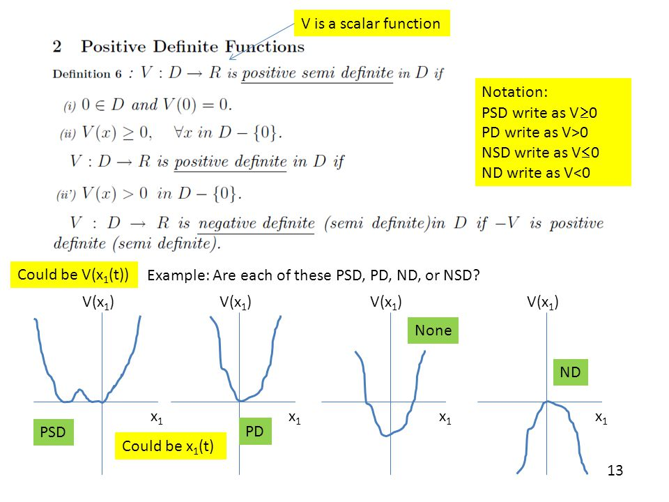 V is a scalar function Notation: PSD write as V0. PD write as V>0. NSD write as V0. ND write as V<0.