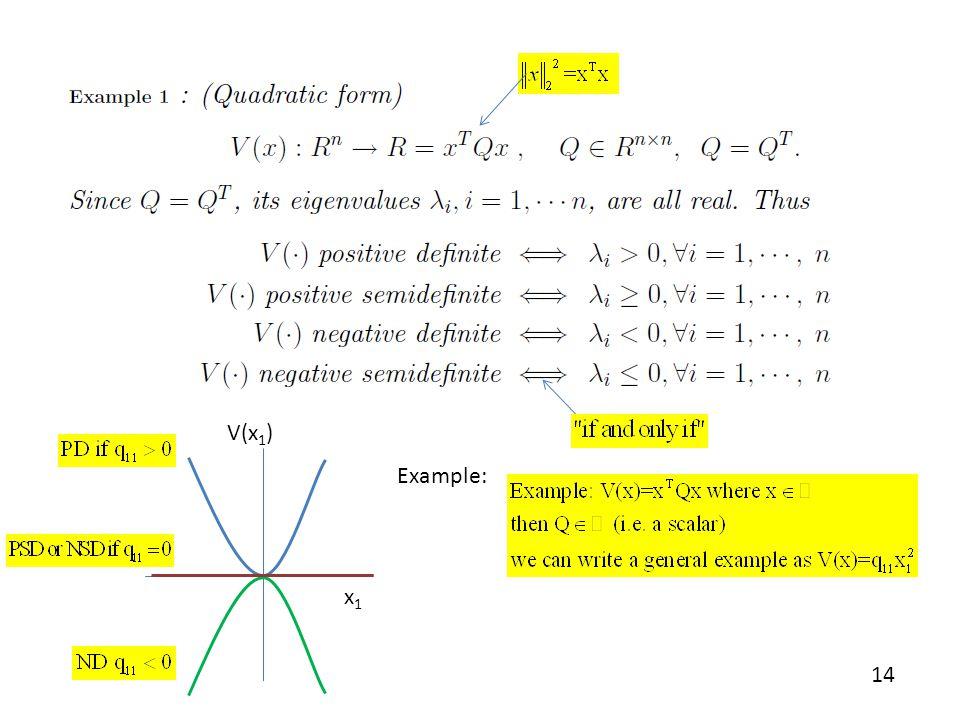 x1 V(x1) Example: