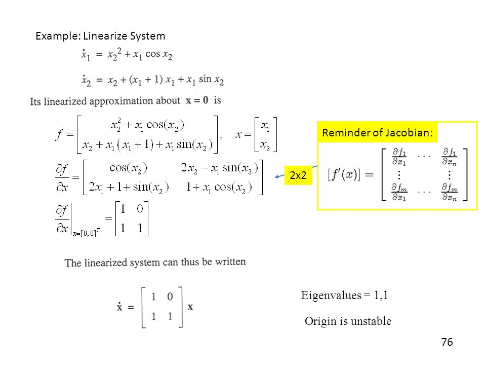 Example: Linearize System