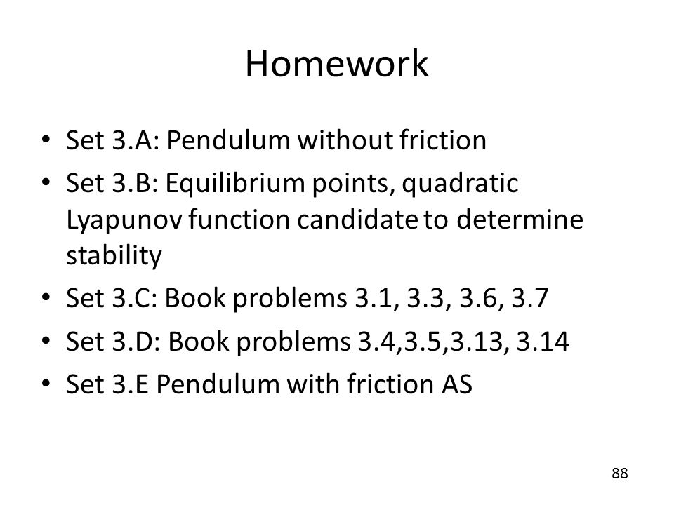 Homework Set 3.A: Pendulum without friction