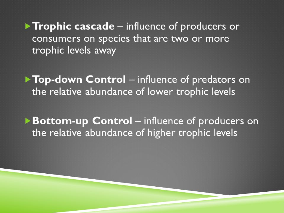 Trophic cascade – influence of producers or consumers on species that are two or more trophic levels away