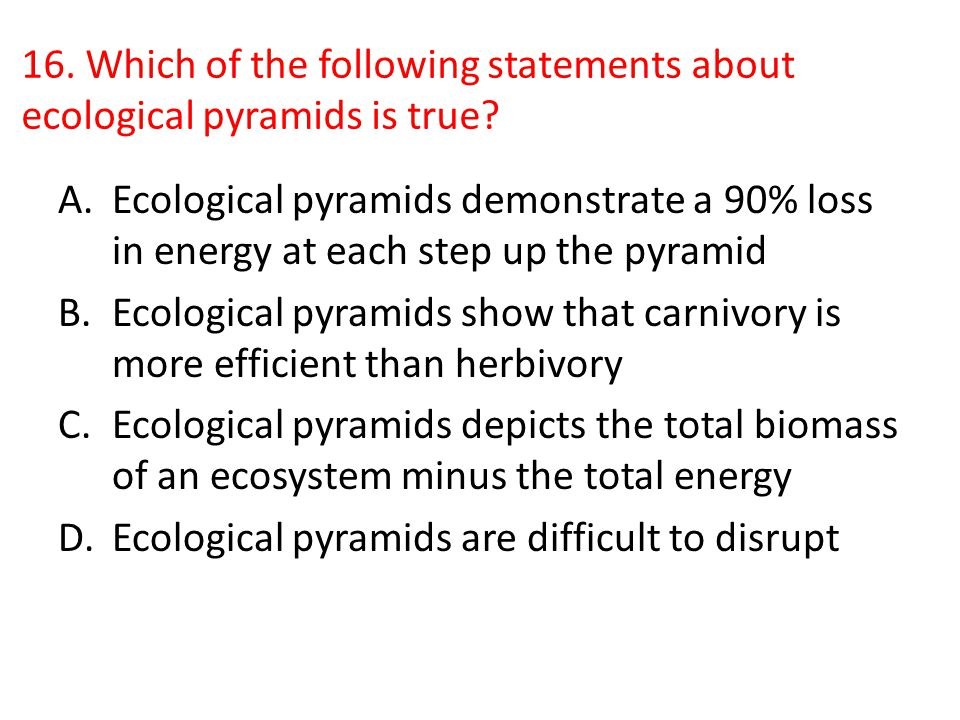 16. Which of the following statements about ecological pyramids is true