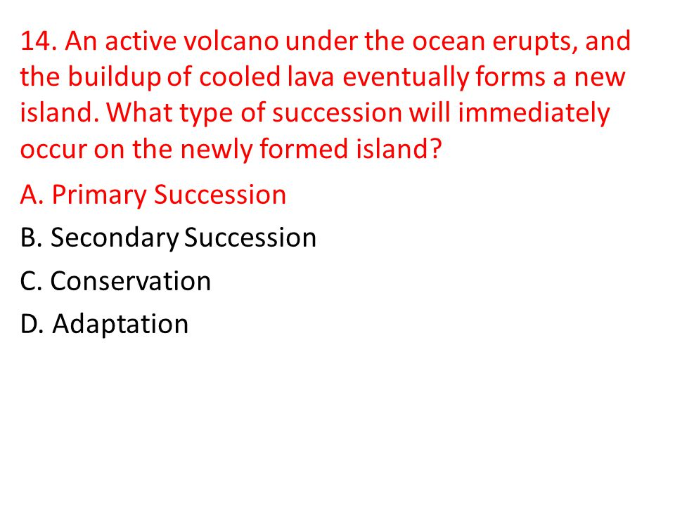 14. An active volcano under the ocean erupts, and the buildup of cooled lava eventually forms a new island. What type of succession will immediately occur on the newly formed island