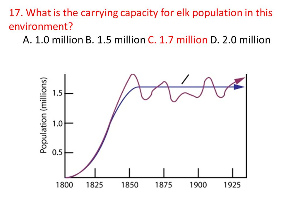17. What is the carrying capacity for elk population in this environment.