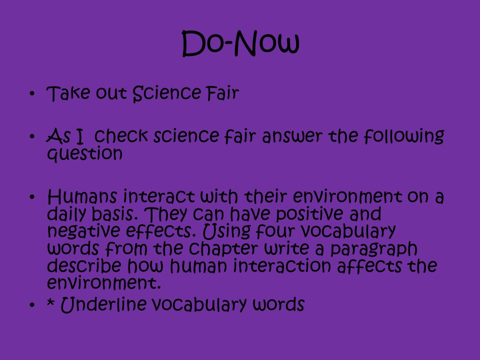 Do-Now Take out Science Fair