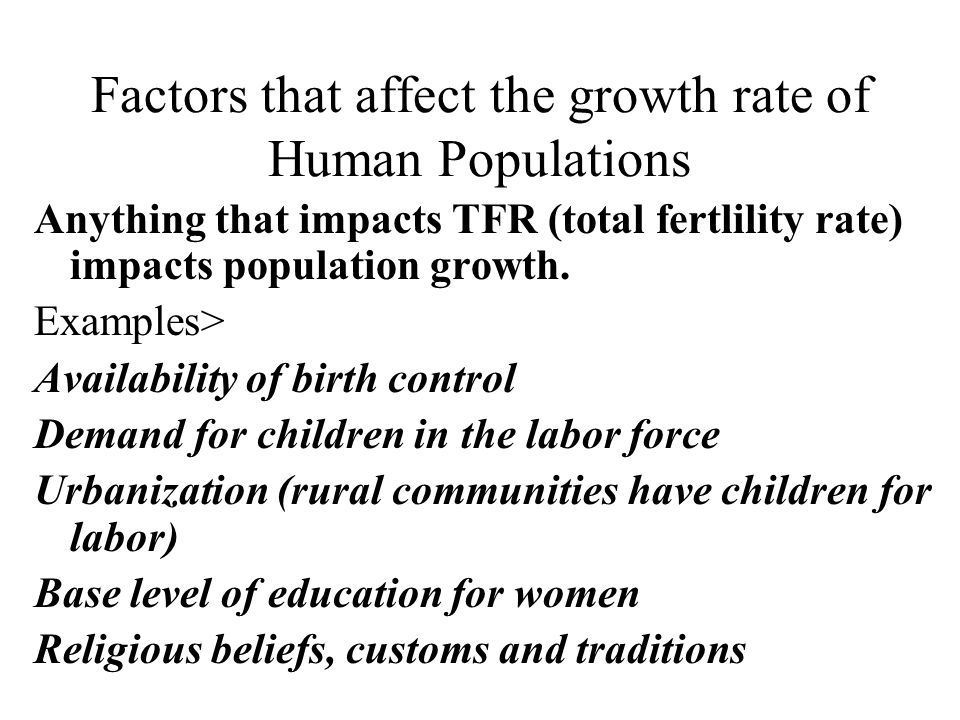 Factors that affect the growth rate of Human Populations
