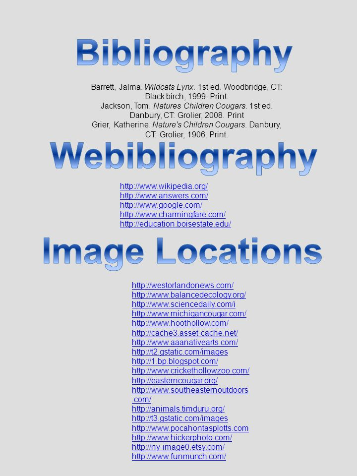 Bibliography Webibliography Image Locations