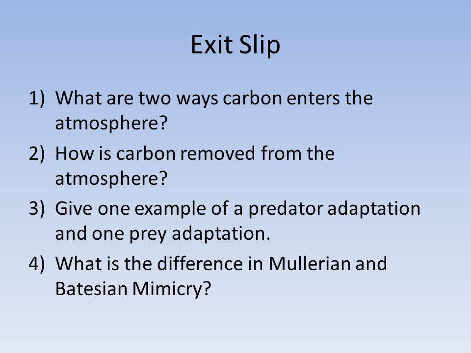 Exit Slip What are two ways carbon enters the atmosphere