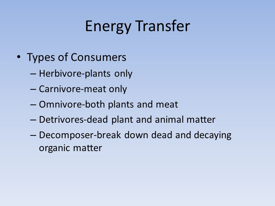 Energy Transfer Types of Consumers Herbivore-plants only