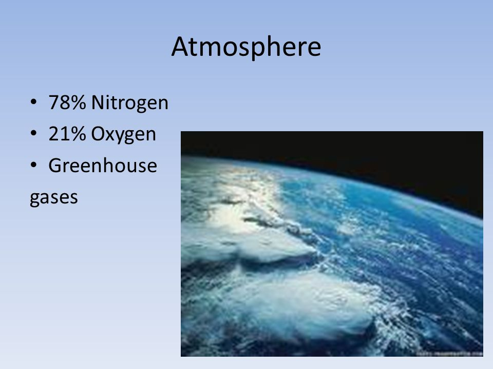 Atmosphere 78% Nitrogen 21% Oxygen Greenhouse gases