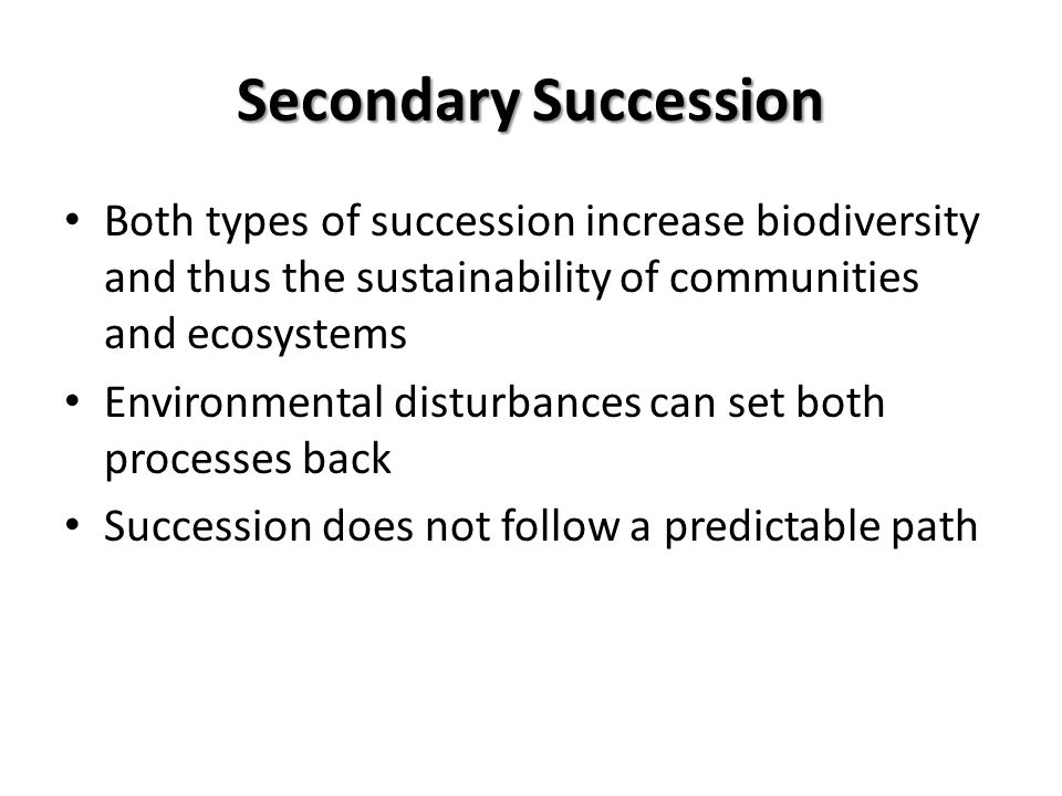 Secondary Succession Both types of succession increase biodiversity and thus the sustainability of communities and ecosystems.