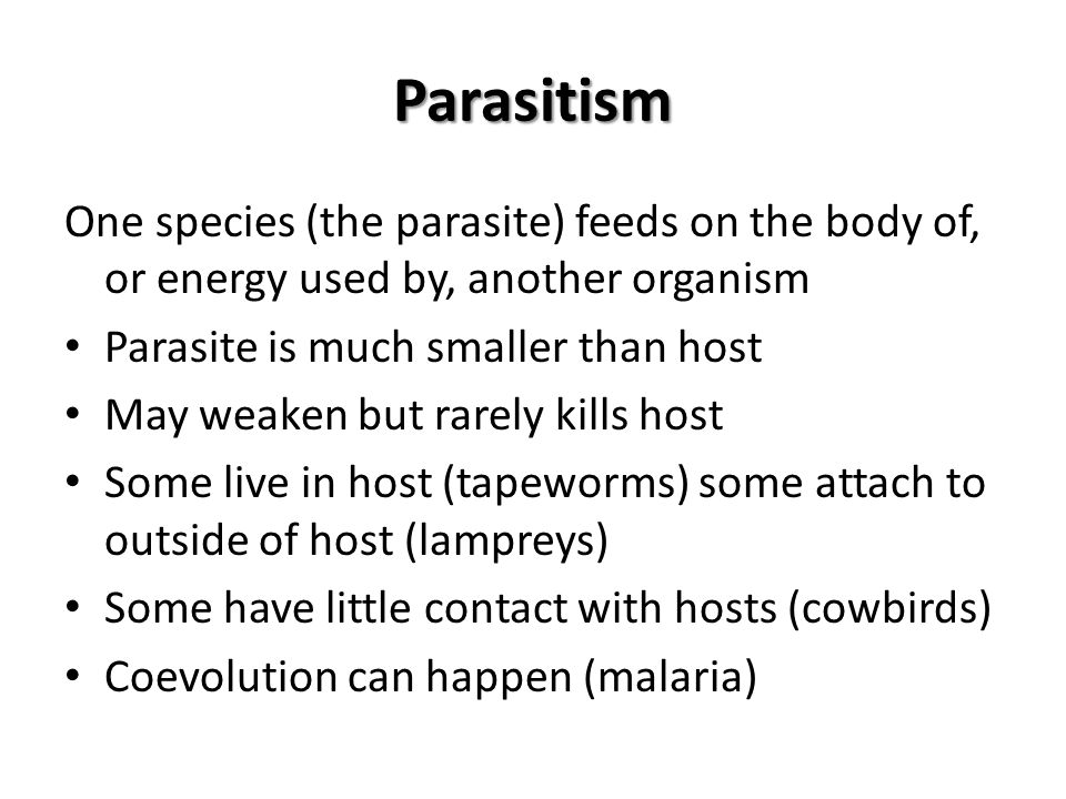 Parasitism One species (the parasite) feeds on the body of, or energy used by, another organism. Parasite is much smaller than host.