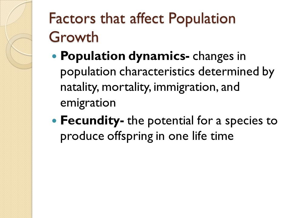 Factors that affect Population Growth