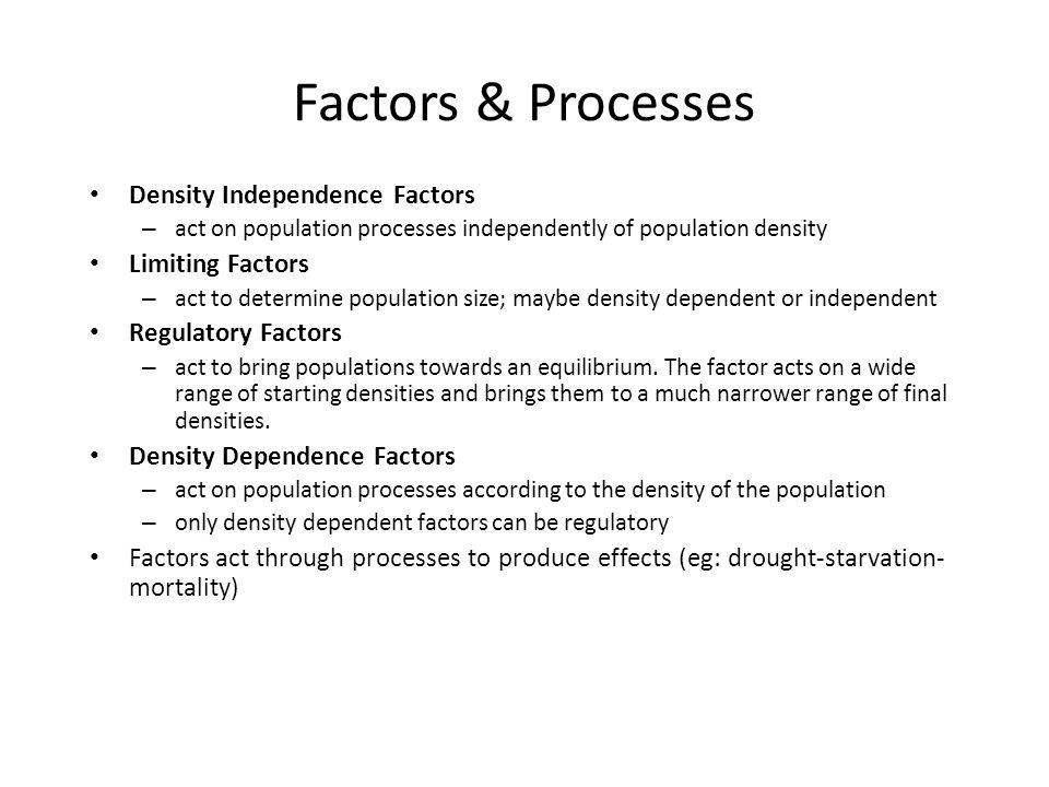 Factors & Processes Density Independence Factors Limiting Factors