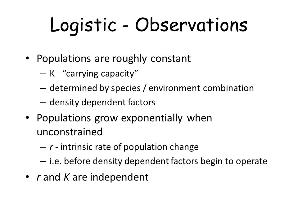Logistic - Observations