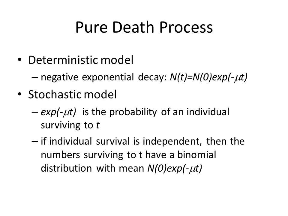 Pure Death Process Deterministic model Stochastic model
