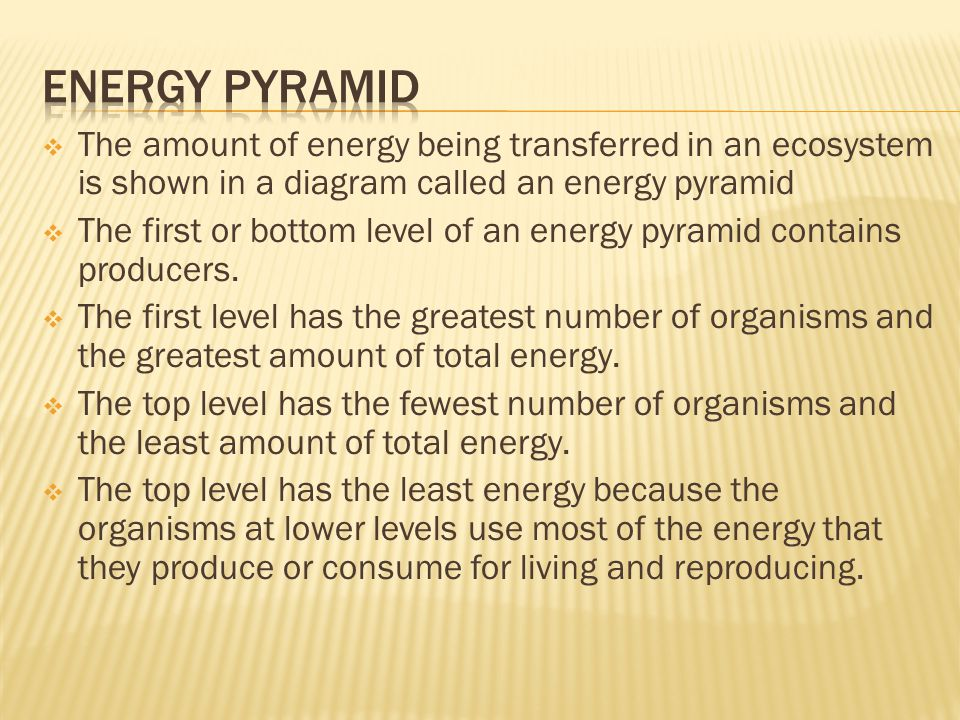 Energy Pyramid The amount of energy being transferred in an ecosystem is shown in a diagram called an energy pyramid.
