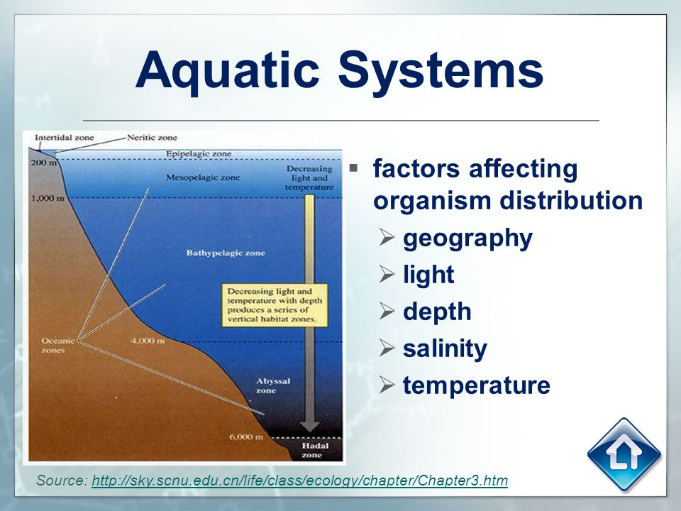 Aquatic Systems factors affecting organism distribution geography
