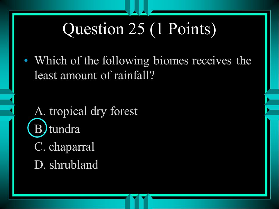 Question 25 (1 Points) Which of the following biomes receives the least amount of rainfall A. tropical dry forest.
