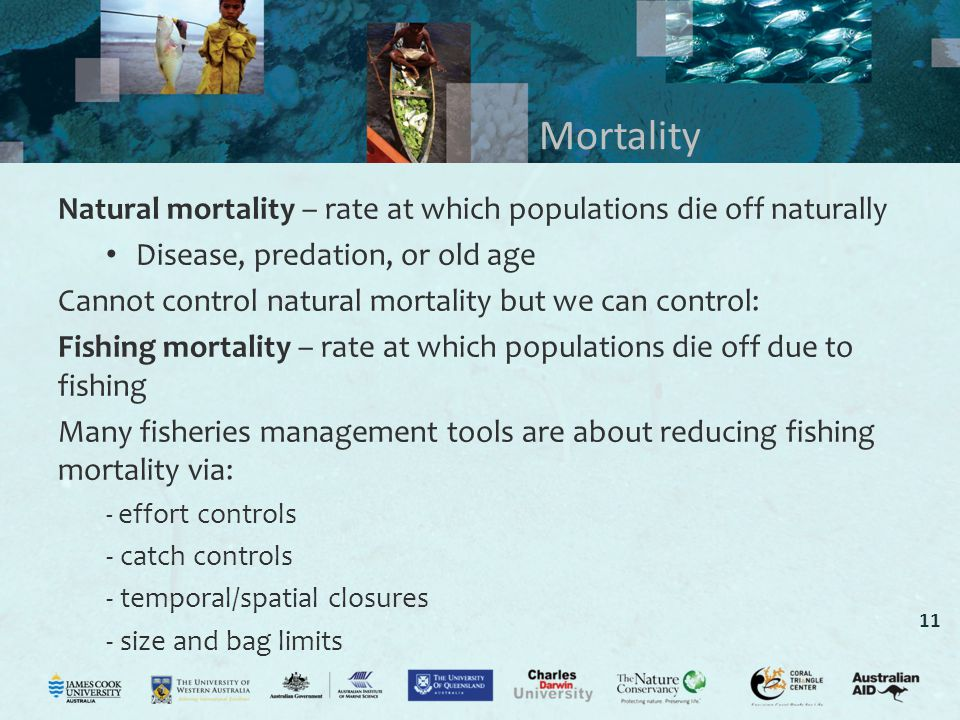 Mortality Natural mortality – rate at which populations die off naturally. Disease, predation, or old age.