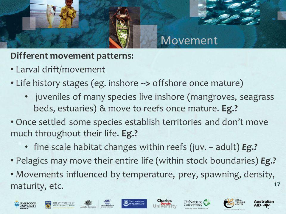 Movement Different movement patterns: Larval drift/movement