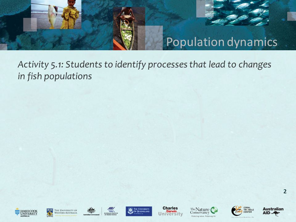Population dynamics Activity 5.1: Students to identify processes that lead to changes in fish populations.