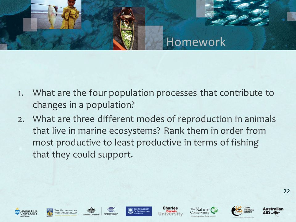 Homework What are the four population processes that contribute to changes in a population