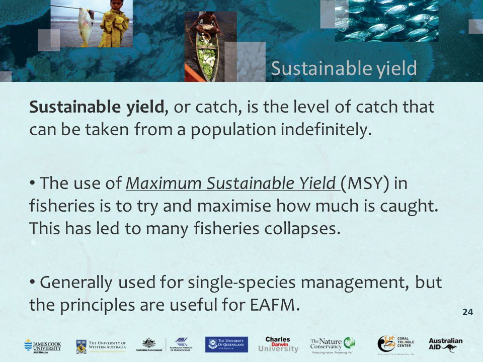 Sustainable yield Sustainable yield, or catch, is the level of catch that can be taken from a population indefinitely.