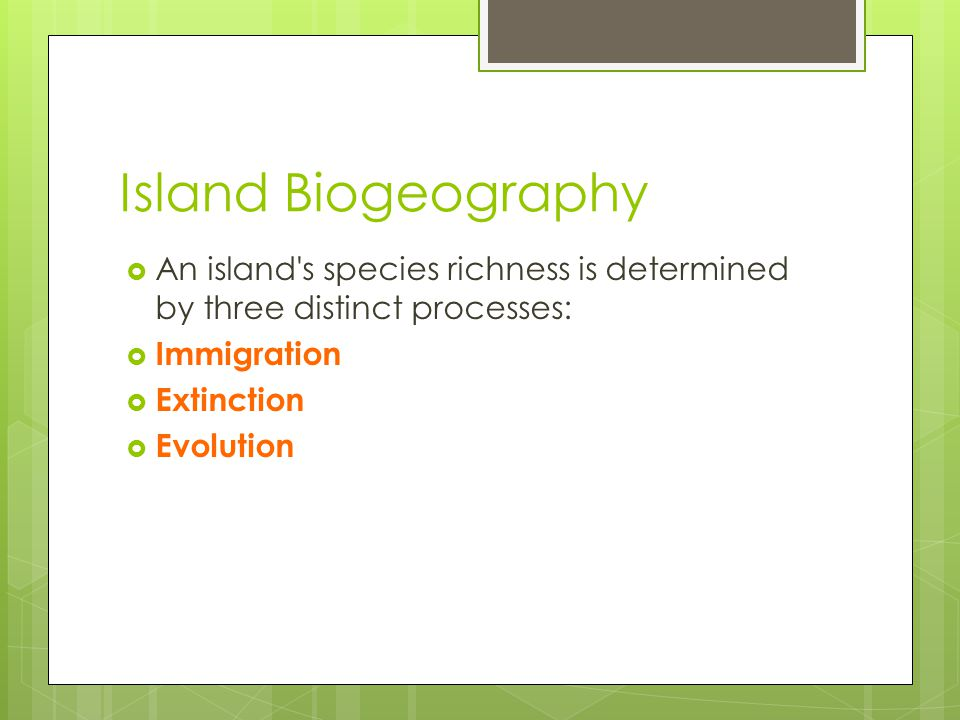 Island Biogeography An island s species richness is determined by three distinct processes: Immigration
