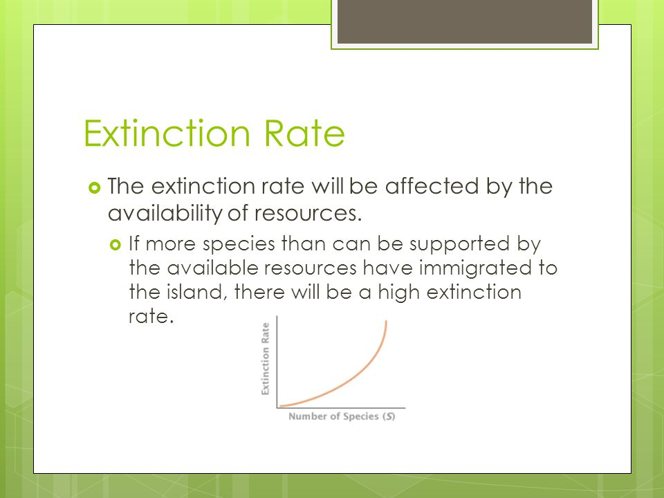 Extinction Rate The extinction rate will be affected by the availability of resources.