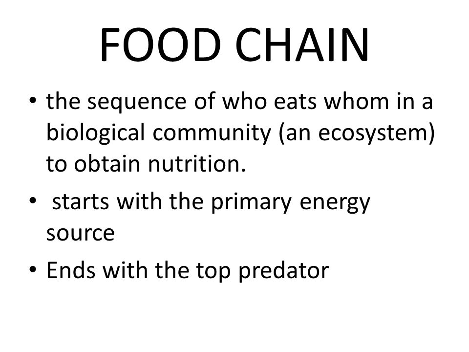 FOOD CHAIN the sequence of who eats whom in a biological community (an ecosystem) to obtain nutrition.