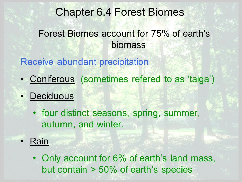 Forest Biomes account for 75% of earth's biomass